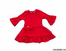 Kız Çocuk Kadife Fırfırlı Elbise