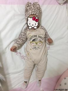 Leoparlı Şapkalı Tarz Bebek Tulum