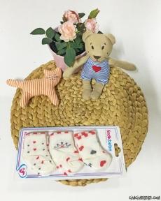 Kalp Desenli Kız Bebek Çorap