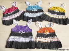 Rengarenk Çiçekli Fırfırlı Elbise