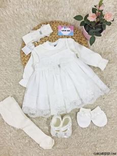 İnci Detaylı Kız Bebek Mevlütlük Set