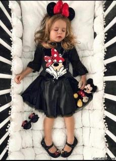Fareli Fırfır Kollu Kız Çocuk Elbise