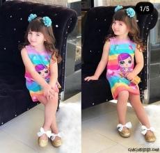 Çantalı Sürpriz Kahraman Kız Çocuk Elbise