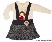 Kız Nakışlı 2'li Kız Elbise