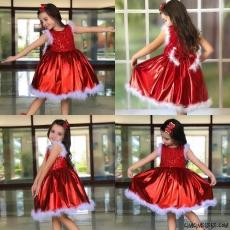 Kız Çocuk Tüy Detaylı Yeni Yıl Elbise