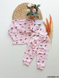 Kelebek Desenli Kız Çocuk Pijama Takımı