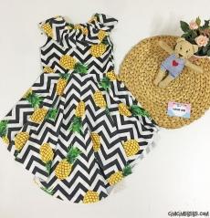 Ananaslı Asimetrik Kız Çocuk Elbise