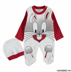 Minik Tavşan Şapkalı Bebek Tulum