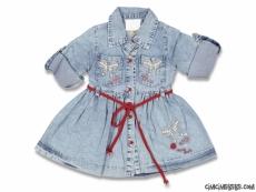Taşlı Kız Bebek Şık Kot Elbise