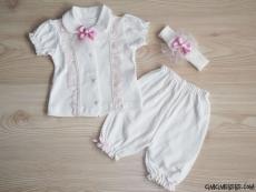 Dantelli Bandanalı Kız Bebek Takım