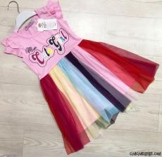 Prenses Kız Rengarenk Tütülü Elbise