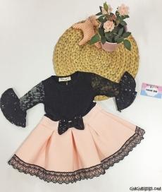 Dantelli Pullu Kız Çocuk Dalgıç Elbise