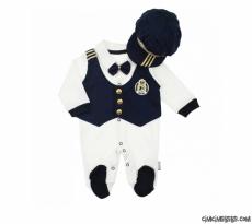 Amiral Şapkalı Penye Bebek Tulum