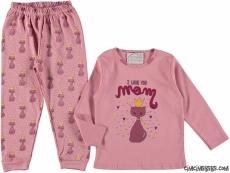I Love You Mom Kız Çocuk Pijama Takımı