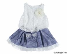 Dantelli Çantalı Kot Elbise