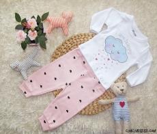 Bulutlu Kalpli Kız Bebek Takım