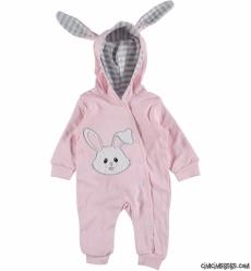 Poposu Ponponlu Çift Kat Astarlı Tavşancık Bebek Tulum