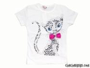 Kedi Baskılı Fiyonklu Kız Tişört