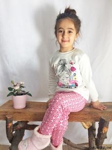 Çiçekli Kız Pijama Takımı