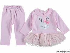Tavşan Baskılı Tunikli Bebek Takım