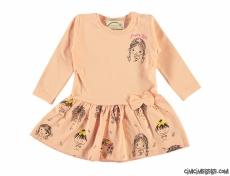 Notalı Penye Kız Çocuk Elbise