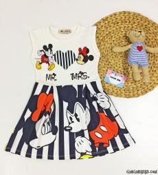 Dalgıç Kumaş Kız Çocuk Mini Fare Elbise