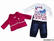 Love Ceketli Kot Pantolonlu Kız Bebek Takım