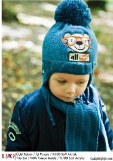 Bear Ponponlu Erkek Bebek Atkı Bere Eldiven Set