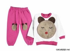 Uyuyan Ayıcık İçi Polar Kız Çocuk Eşofman Takımı