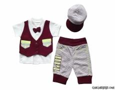 Şapkalı 3'lü Bebek Takım