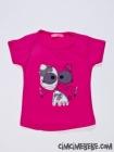 Kedi Nakışlı Kız T-Shirt